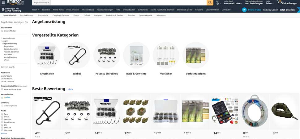 Amazon Angelzubehör Shop